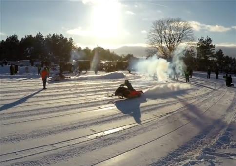 Methanol Snowmobile Drag Race