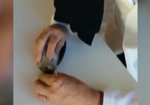 Opa gibt einem Vogel erste Hilfe