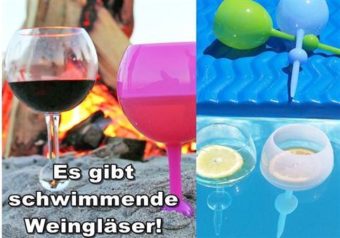 Es gibt schwimmende Wein/Biergläser